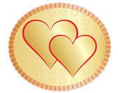Deux valentines dorés — Vecteur