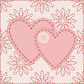 Valentines sewed with button — Stock Vector