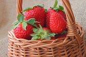 Basket with strawberries — Stock Photo