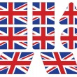 Buttons with Union Jack flag — Imagen vectorial