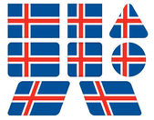 Buttons with flag of Iceland — Stock Vector