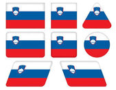 Buttons with flag of Slovenia — Stock Vector