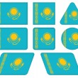 Buttons with flag of Kazakhstan — Stock Vector #26710809