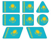 Buttons with flag of Kazakhstan — Stock Vector