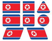 北朝鮮の旗を持つボタン — ストックベクタ