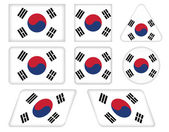 Buttons with flag of South Korea — Stock Vector