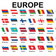 Icons with European flags — Stock Vector