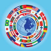 Flags around globe — Vecteur
