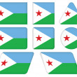 Buttons with flag of Djibouti — Grafika wektorowa