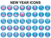 Novoroční dovolená ikony — Stock vektor