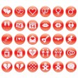 Round Day of Valentine icons — Stock Vector