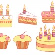 Stock Vector: Set of holiday cakes