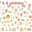 Set of birthday icons — Stock Vector