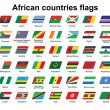 African countries flags icons — Stock Vector