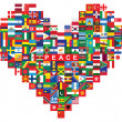 Heart made of flags icon — Stock Vector