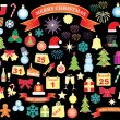 Set of Christmas and New Year icons — Stockvectorbeeld