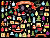 Sada ikon na vánoce a nový rok — Stock vektor