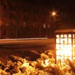 Lantern at winter night — Stock Photo