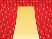 Red theatre curtain with royal lilies — Stock Vector