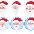 Set of Santa Claus faces — Stock Vector