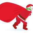 Santa Claus carrying sack with gifts — Stock Vector