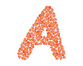 Letter a made of valentines — 图库矢量图片