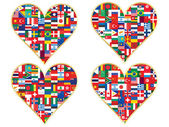 Valentines made of flags icons — Stock Vector