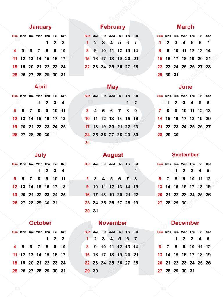 Calendario 2015 — Vector de stock © romantiche #39598111