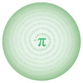 Green circle with number pi — Stock Vector