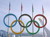 Olympic rings in Olympic park — Stock Photo