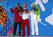 Men's parallel slalom snowboarding medal ceremony — Stock Photo