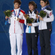 Short track Ladies' 1000m medal ceremony — 图库照片