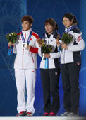 Short track Ladies' 1000m medal ceremony — Stock Photo