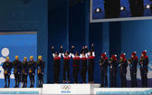 Women's curling medal ceremony — ストック写真