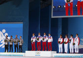 Men's short track 5000m relay medal ceremony — Stock Photo