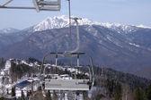 Chairlift in Caucasian mountains — Foto de Stock