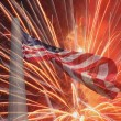 United States flag over fireworks — Stock Photo