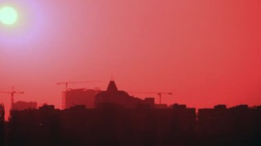 Infrared sunset view over town time-lapse — ストックビデオ