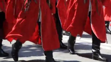 Cossacks walk in red uniform — Stock Video