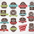 Set of retro vector label stickers and ribbons. — Imagen vectorial