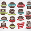 Set of retro vector label stickers and ribbons. — Векторная иллюстрация