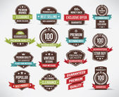Set of retro vector label stickers and ribbons. — Stock Vector