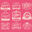 Stock Vector: Vintage bakery labels, ribbons and decorative banners