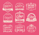 Vintage bakery labels, ribbons and decorative banners — Stock Vector