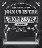 Wedding Chalkboard - Blackboard invitation design — Stock Vector