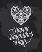 Chalkboard Valentines Day banner greetings card — Stok Vektör