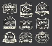 Calligraphic vector sign and label set. Bakery and cake label design elements — Stock Vector