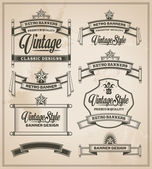 Calligraphic design elements. Vintage banner and ribbon set — Stock Vector