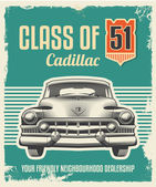 Vintage metal sign - classic car poster — Stock Vector