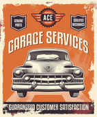 Vintage sign - Advertising poster - Classic car — Stock Vector